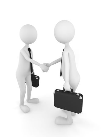 3D persons shaking their hands and finishing a successful business deal