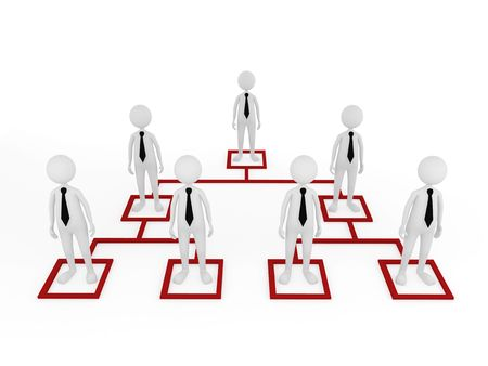 job promotion: Concept, depicting employees at different tiers; great for business and organization structure concepts. Stock Photo