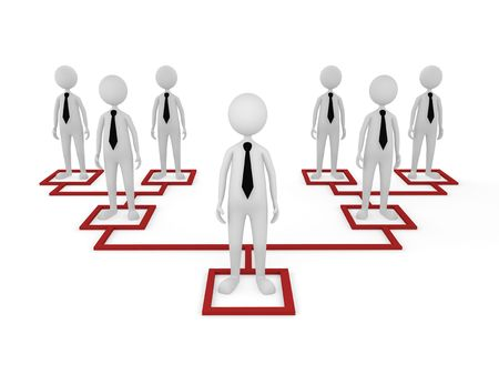 Concept, depicting employees at different tiers; great for business and organization structure concepts. Stock Photo