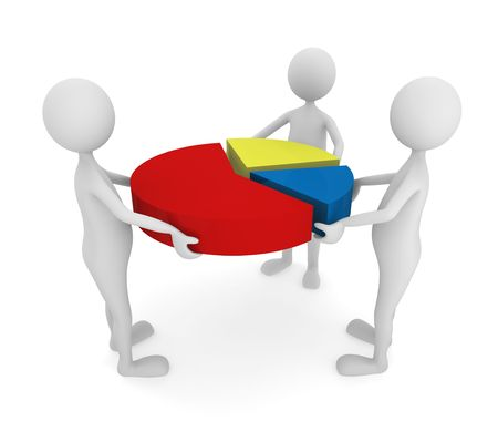 Team combining a pie chart; great for teamwork, marketing and presentation concepts.