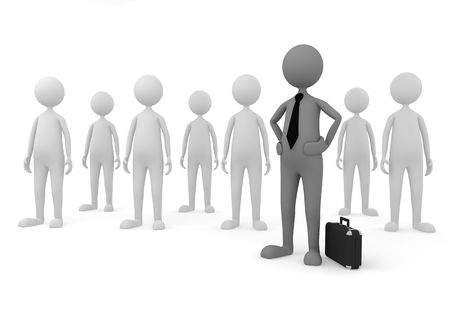 3D concept depicting leader of a team, successful in economy, business or management area Stock Photo