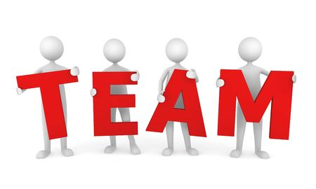 office staff: 3D people working as a team. Great concept depicting teamwork and cooperation.