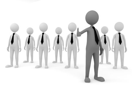 3D concept depicting leader welcoming to successful business team