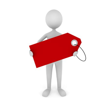 3D man holding empty red tag. Great concept for advertisement, sale announcement, etc.