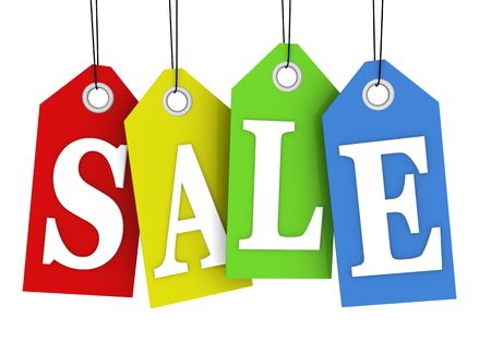 Sale concept, formed of colorful tags; great for shopping, sales, advertising, discounts and promotion.
