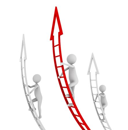 corporate ladder: Concept of competition, standing out and being a leader
