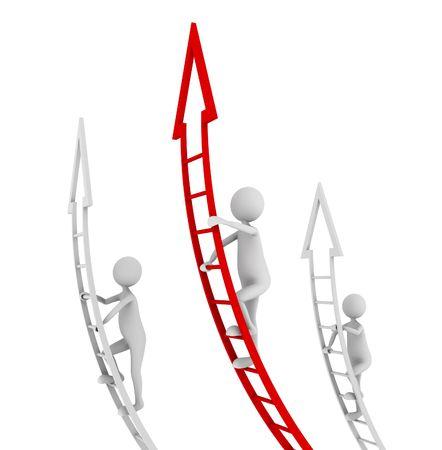 escaleras: Concepto de la competencia, destac�ndose y ser un l�der