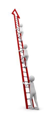 beginner: Concept representing a beginner to start climbing a ladder to follow the others