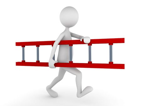 3D man carrying red ladder; great concept for working environment or business relations