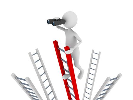 Search concept representing 3D man climbing to the top of a ladder and searching with the help of binoculars photo