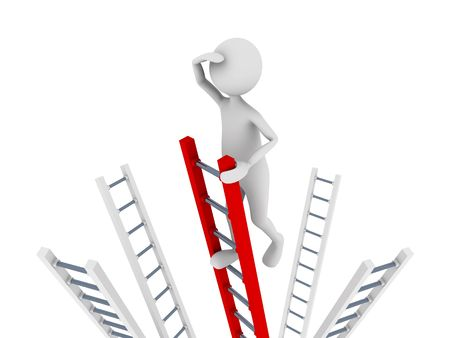 job market: Search concept representing man climbing to top of the ladder and searching