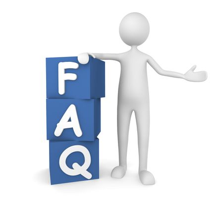 frequently asked questions: Concept depicting man leaning on to FAQ boxes; great for web sites, advertisements, help concepts. Stock Photo
