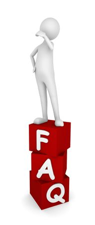 Concept depicting man standing on FAQ boxes; great for web sites, advertisements, help concepts.
