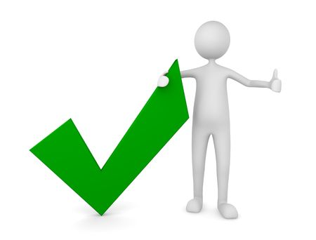 right choice: Man with a green tick mark; Concept for approval and acceptance