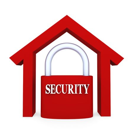 stability: Concept depicting security lock inside home; great for home security and stability