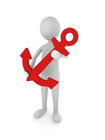 an anchor: Concept depicting 3D man holding a red anchor. Stock Photo