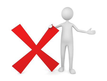 disagree: Rejected, declined, canceled concept, depicting 3D man next to red X mark