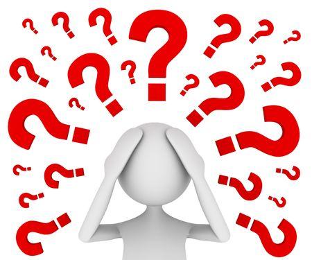 confused person: Concepto representando la atribulada hombre elevar un mont�n de preguntas  Foto de archivo