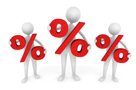 Discount concept depicting men holding red percentage symbol; great for business, economy, sales.