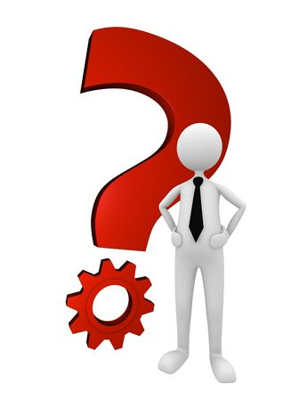 Business man standing next to shiny red metal question mark; great for question, solution and business concepts.