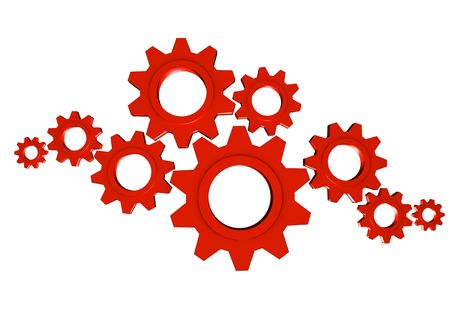 mechanism of progress: Lots of shiny metal red gears; great for teamwork, collaboration and progress concepts
