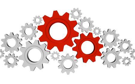 dominare: Sacco di ingranaggi di metalli lucidi con due sono le pi� importanti; grande per i concetti di processo, di collaborazione e lavoro di squadra.