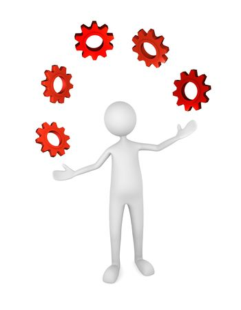 Person juggling gears; great for process management, business, industry concepts.