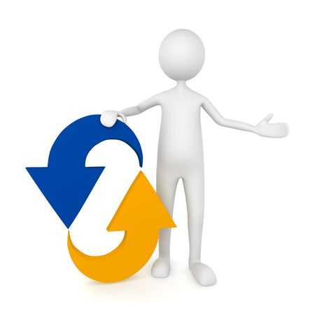 Man leaning to recycle icon; great for motion, recycling concepts.