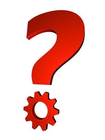 ambiguity: Shiny red metal question mark with gear; great for question and solution concepts. Stock Photo