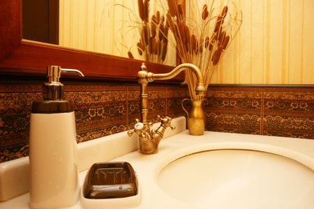 toiletry:  A classic bathroom counter with toiletry