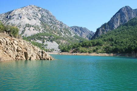 Forest and lake, green canyon is Turkey