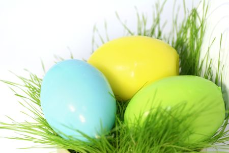 Colored easter eggs in a grass