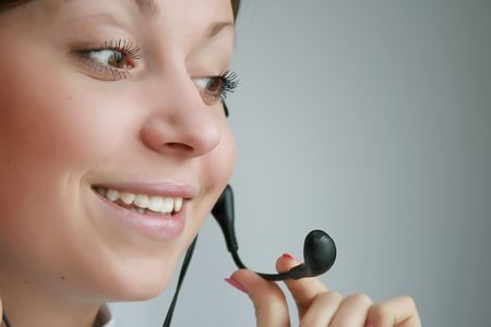 business customer support operator woman smiling Stock Photo