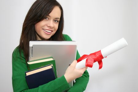 happy student holding a diploma Stock Photo