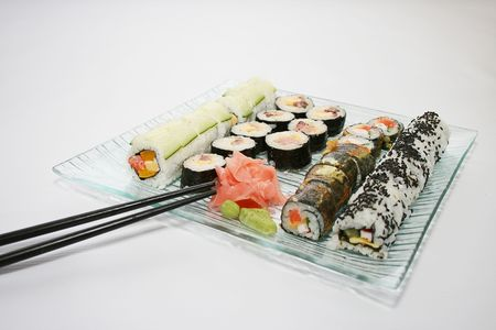 mouth watering: Japanese sushi , traditional japanese food, home sushi