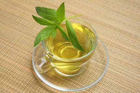 cup of green tea with mint Stock Photo - 5471367