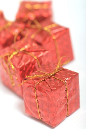 Group of Christmas gifts with ribbon photo
