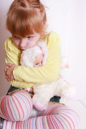 shy: Little girl alone, afraid, hiding, feeling sad