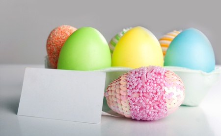 Easter traditional - A close-up of colorful easter eggs photo