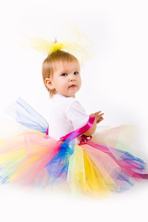 Baby girl one year an elegant dress Stock Photo