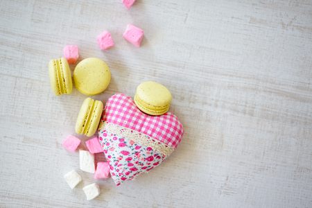 heart white: Colorful Macaroons With Lovely Decoration.