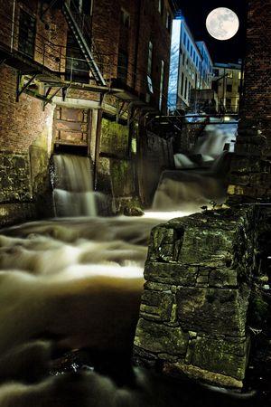 Old industrial bulildings in moonlight