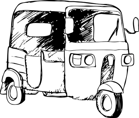 bajaj: Vector graphic of a traditional taxi in Indonesia known as Bajaj or Bajai Illustration