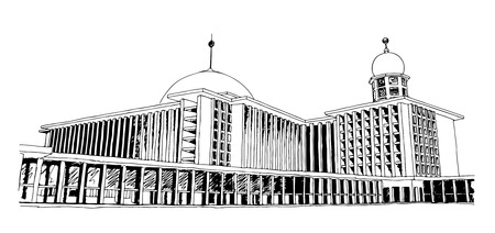 A hand drawn sketch of Istiqlal Mosque in Jakarta, Indonesia