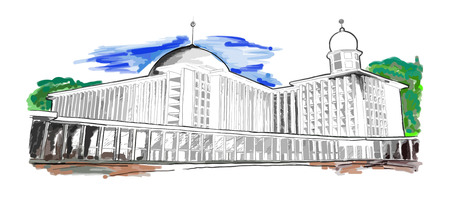 monumental: A hand drawn sketch of Istiqlal Mosque in Jakarta, Indonesia
