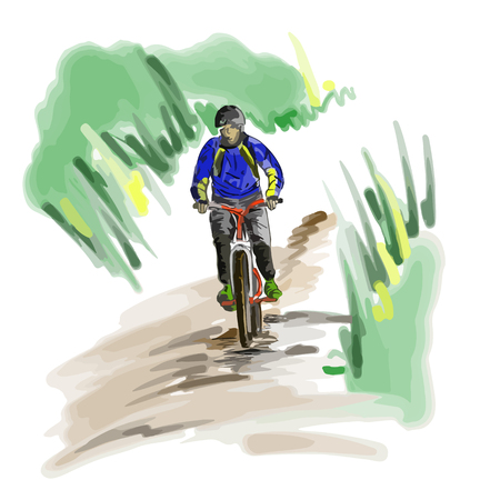 Hand drawn sketch of a man rides on a mountain bike or bicycle.