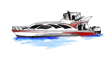 motorboat: fast motorboat or yacht
