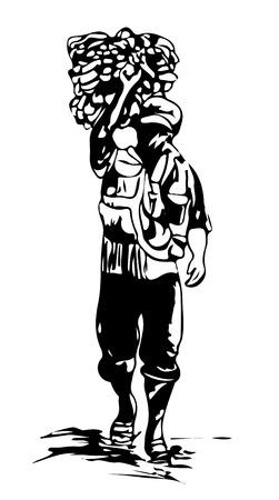 Un Indonésien marche alors qu'il porte des marchandises sur son dos. Illustration de croquis d'art.