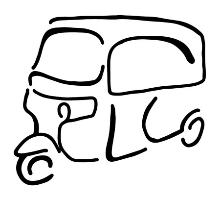 Vector graphic of a traditional taxi in Indonesia known as Bajaj Illustration