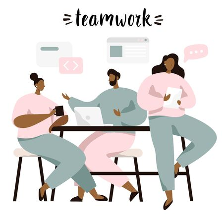 Group of people sitting at table and discussing ideas, exchanging information, solving problems. Brainstorm or teamwork. Vector illustration in flat style.